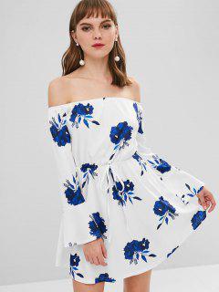 Floral Print Off Shoulder Mini Dress - Deep Blue M