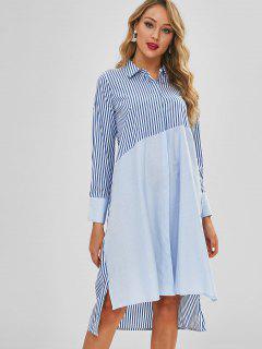Stripe Color Block Long Sleeves Slit Shift Shirt Dress - Cornflower Blue S