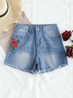 Floral Embroidered Frayed Denim Shorts - Denim Blue S