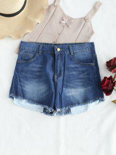 Mid Rise Frayed Jean Shorts - Denim Dark Blue S