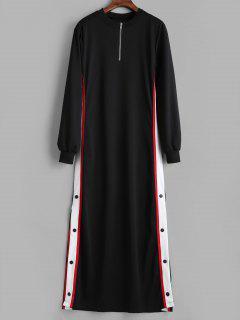 Robe Sweat-shirt Boutonnée Longue à Fente Latérale - Noir L