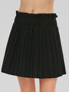 High Waist Pleated Mini  Skirt - Black L