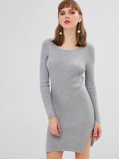 Vestido De Suéter Con Abertura Lateral De Canalé Ajustado - Gris Claro