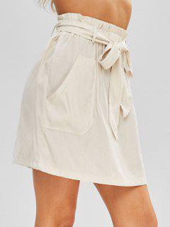 High Waist Belted A Line Skirt - Beige L