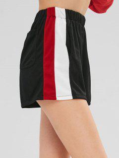 Pantalones Cortos De Panel De Rayas De Cintura Alta - Negro Xl