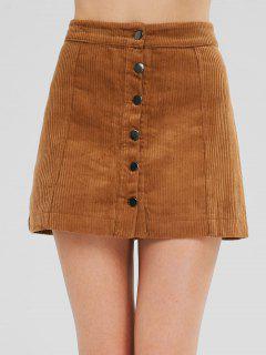 Button Up Corduroy Mini A Line Skirt - Light Brown M