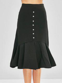 High Rise Buttons Flounced Midi Skirt - Black M