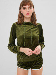 Front Pocket Hoodie And Velvet Shorts Set - Army Green M