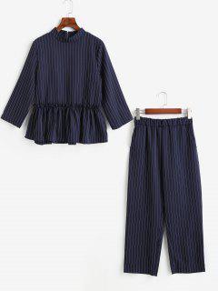 Ensemble Deux Pièces Avec Pantalon Fuselé à Rayures Fines - Bleu De Minuit L