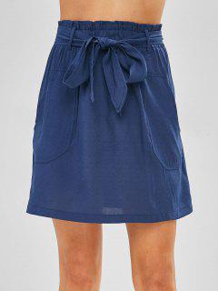 High Waist Belted A Line Skirt - Deep Blue L