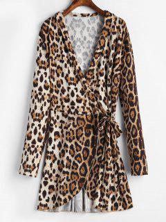 Mini Vestido Cruzado Con Estampado De Leopardo - Multicolor-b Xl