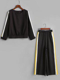 Striped Top Wide Leg Pants Two Piece Matching Set - Mustard 2xl