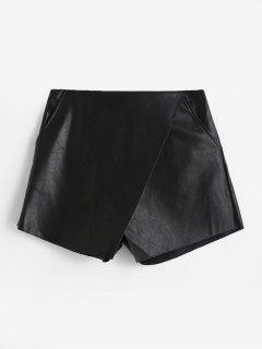Pantalones Cortos De Culotte De Cuero De PU En Capas - Negro M