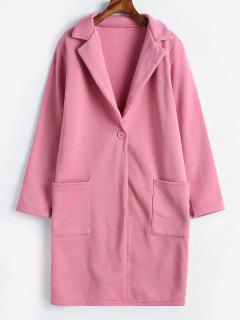 One Button Plain Lapel Coat - Pink M