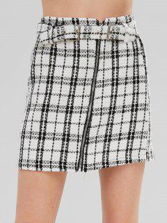 Plaid Mini A Line Skirt - White M