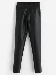 Pantalones De Cuero De Imitación Delgados Lisos - Negro Xs