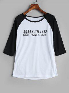 T-shirt à Imprimé Lettres Aux Manches Raglan - Blanc L