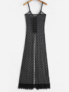 Lace Slit Cami Lingerie Dress - Black L