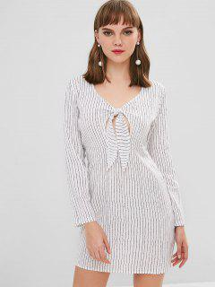Striped Tie Front Shift Dress - White S