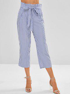 Belted Striped Capri Pants - Blue Xl