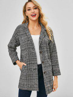 Longline Plaid Button Up Lapel Coat - Black
