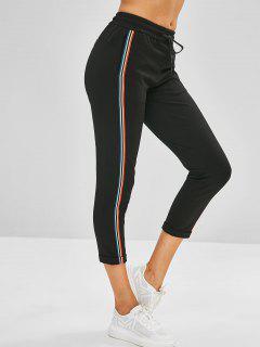 Pantalones Elásticos Con Borde De Rayas - Negro S