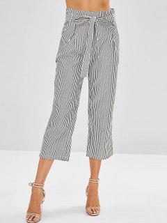 Pantalones Capri A Rayas Con Cinturón - Negro S
