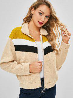 Faux Fur Color Block Coat - Tan M