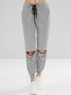 Lace-up Cut Out Sport Jogger Pants - Gray M