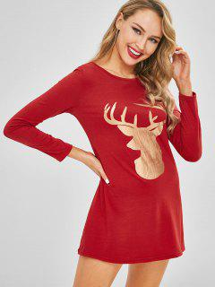 Christmas Elk Print Tunic Tee Dress - Red M