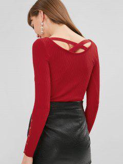Suéter De Espalda Cruzada Acanalada - Rojo