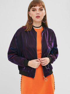 Graphic Zip Up Bomber Jacket - Purple Flower S