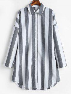 Vestido De Manga Larga Camisa A Rayas - Gris M