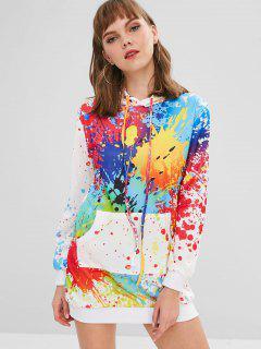Splatter Paint Pocket Hoodie Dress - White S