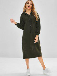 Hooded Casual Straight Midi Dress - Army Green