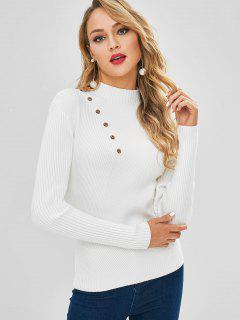 Mock Neck Buttoned Ribbed Sweater - White