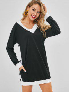 V Neck Long Sleeve Shift Tee Dress - Black Xl