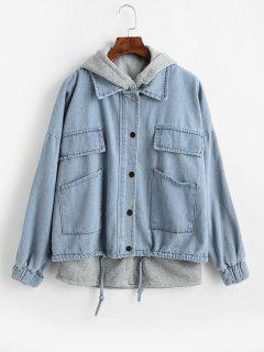Fleece Hooded Vest And Denim Jacket Twin Set - Pastel Blue M