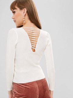 Pull Côtelé à Dos Ouvert Avec Bordure En Crochet - Blanc