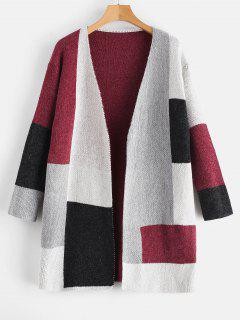 Patchwork Knit Color Block Open Cardigan - Red Wine L