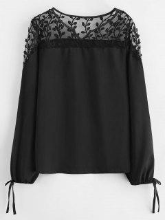 Sheer Lace Yoke Illusion Bow Sleeve Top - Black S