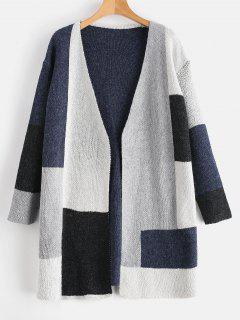 Patchwork Knit Color Block Open Cardigan - Slate Blue M