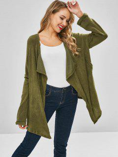 Open Waterfall Front Oversized Cardigan - Army Green Xl