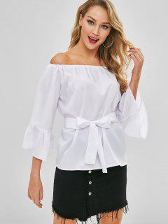 Flare Sleeves Off Shoulder Belted Blouse - White Xl