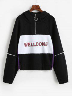 Welldone Color Block Half Zip Hoodie - Black Xl