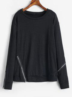 Zippers Embellished Plain Sweatshirt - Black L