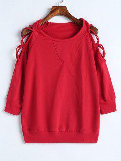 Criss Cross Cold Shoulder Sweatshirt - Red L