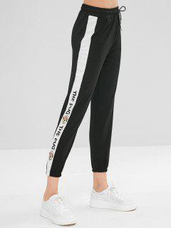 Pantalon De Jogging Imprimé Lettres Avec Cordon - Noir L