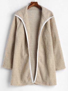 Fluffy Open Front Longline Coat - Tan L