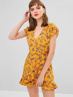 Mini Vestido Cruzado Floral Cruzado De Tie Side - Mostaza M